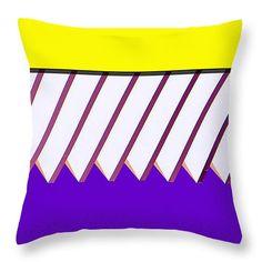 """Yellow Bar White Louvers Throw Pillow 14"""" x 14"""""""