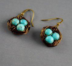 Robin Egg Nest Blue Aqua Earrings by ManoCelebrates on Etsy, $12.00