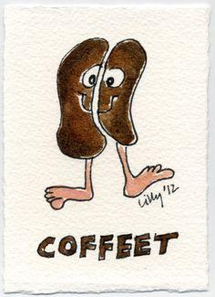 Coffeet Funny Cartoon Coffee Bean Feet Art by Lillyarts ACEO NFAC ATC OOAK