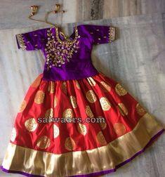 Red Benaras Lehenga Purple Blouse - Indian Dresses Indian Dresses For Kids, Kids Indian Wear, Kids Ethnic Wear, Wedding Dresses For Kids, Dresses Kids Girl, Baby Dresses, Indian Baby Girl, Kids Outfits, Baby Girl Lehenga