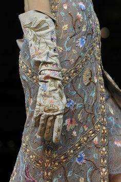 Vivienne Westwood spring 2012 gloves embroidery