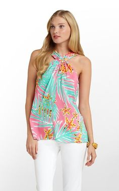 "Lilly Pulitzer Rosina Top ""Hotty Pink Leid"""