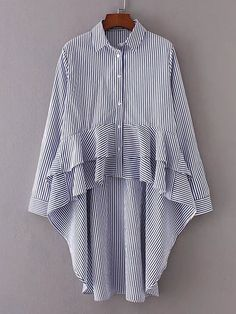 SheIn offers Vertical Striped Tiered Asymmetrical Blouse & more to fit your fashionable needs. Look Fashion, Diy Fashion, Ideias Fashion, Fashion Design, Blouse Styles, Blouse Designs, Modest Fashion, Fashion Dresses, Inspiration Mode