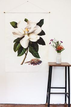 Botanical Print wall art of a Magnolia Grandiflora. Magnolia fabric wall art, Vintage botanical poster, fabric.  PRE- ORDER NOW! These will be ready to post EARLY FEBRUARY 2017 This high quality linen fabric wall hanging looks great on any wall in your house, but imagine it in a bathroom- with a lovely wooden floor and white walls? Beautiful in a CHILDRENS room or nursery too!   If you love this flower you may also like this one: https://www.etsy.com/au/listing/400558...