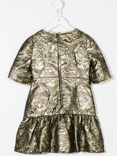 Dolce & Gabbana Kids metallic rose embossed dress