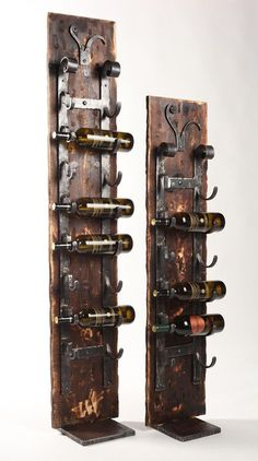 Our Floor Standing Wine Rack is Creatively Unique and is Perfect When Wall or Counter Space is Limited. Our 'Old World' Wall Rack is Attached to a Board Made to Look Old and a Heavy Metal Base. Comes #wineracks