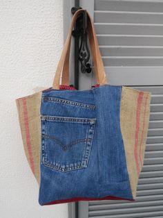 Sac cabas réversible - Modèle unique - toile de jean et toile de sac à café recyclés - UPCYCLING