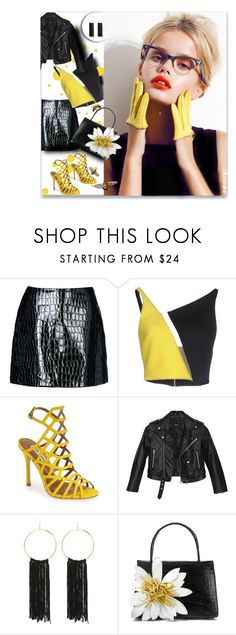 """""""Bumble"""" by ultracake ❤ liked on Polyvore featuring Jolie By Edward Spiers, David Koma, Steve Madden, GALA, Nasty Gal, Bebe, Nancy Gonzalez, yellow, black and ultracake"""