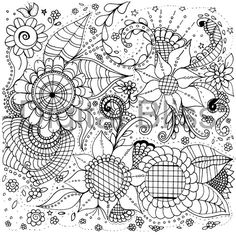 Adult Coloring Pages Whimsical Flowers And Swirls By DigitalBliss