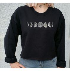 Moon Phase Tumblr Crop Top Pullover Grunge Indie von SpacyShirts