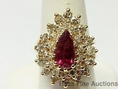 Natural Ruby 1.20ct/2.11ctw Genuine Diamond 1960 s Vintage 14K Yellow Gold Ring #SolitairewithAccents