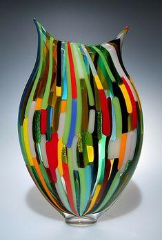 """""""Mixed Cane Foglio""""  Art Glass Vessel"""
