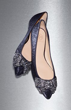 Obsessed with these sparkly Tory Burch flats. The crystal bows are absolutely breathtaking.