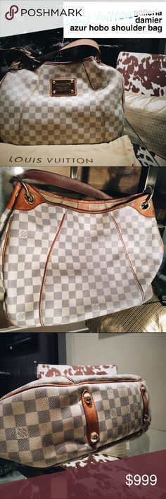 LOUIS VUITTON Damier Azur GALLERIA Downsizing my luxury handbag collection. Bittersweet to see this one go! Purchased this from the LV Store at Pioneer Square in Portland. Bag has been WELL LOVED but still has a lot of life left. (See pics of wear, inside stains, & mild hardware scratches). Bag needs cleaning, shows slight discoloration on the back from rubbing on jeans (magic eraser will fix), and the inside needs cleaning. None of this has hindered me from using it, it's still amazing…