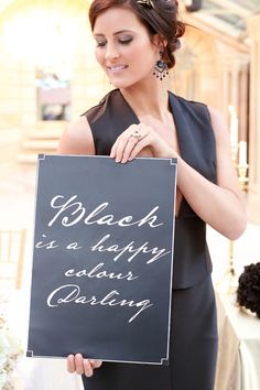 Black is a happy colour darling | SouthBound Bride | http://www.southboundbride.com/opulent-monochrome-wedding-inspiration | Credit: Hello Love Photography