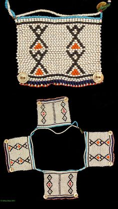 "South Africa | Necklace "" Isigcina/Amatikiti"" with 4 ""love letters"" from the Xhosa people of the eastern Cape region. 