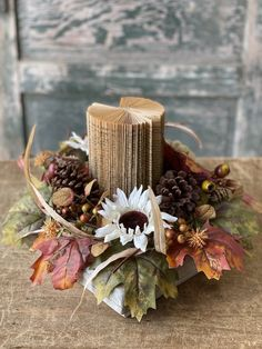 Pumpkin Candles, Fall Candles, Tin Ceiling Tiles, Ceiling Decor, Pumpkin Wedding, Sun Flowers, Thistles, Candle Rings, Natural Wood Finish