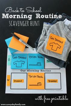 Create a fun morning routine scavenger hunt with Post-it® products to help kids get organized and ready for back to school! Includes a free back to school morning routine printable. #SchoolYearReady #Ad