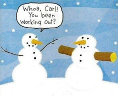 Holiday humor. Snow man buff arms