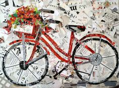 Torn Paper Collage | Suzy Pal Powell Watercolors and Collages: Summer Bike