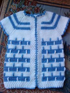 Bebek için güzel olur. Baby Knitting Patterns, Knitting Stitches, Crochet For Kids, Crochet Baby, Tunisian Crochet, Moda Emo, Baby Sweaters, Sweater Coats, Baby Kids