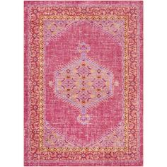 Germili Bright Pink 3 ft. 11 in. x 5 ft. 7 in. Indoor Area Rug