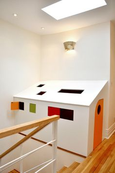 A Top-of-the-Stairs Kid Hideaway -- looks like it would work against our attic wall