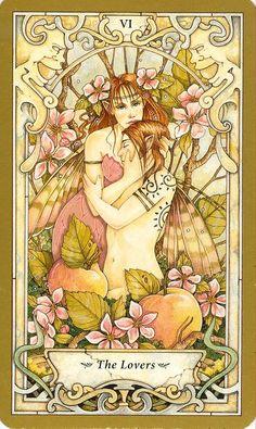THE MYSTIC FAERIE TAROT - The lovers / L'amoureux (Illustration : LINDA RAVENSCROFT)