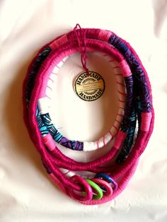 Unique yarn wrapped necklace/ African Wax print by HappyCrafts1