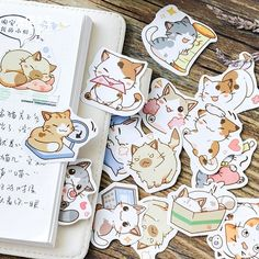 45 pcs/ box my meow Decorative Stationery Stickers Adhesive Stickers DIY Decoration Diary sticker kawaii Label sticker Stickers Kawaii, Cat Stickers, Chibi Cat, Cute Chibi, Neko Cat, Scrapbooking Stickers, Diary Decoration, Japanese Cat, Dibujos Cute