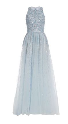 Light Blue Prom Dresses, Long Chiffon prom Dresses,Scoop