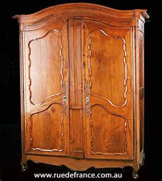 FRENCH ANTIQUE CHERRY WOOD ARMOIRE    19th CENTURY WARDROBE