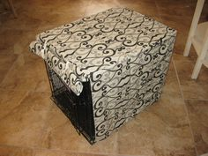 Custom Dog CRATE COVER in Black,Grey and White Swirl SMALL via Etsy