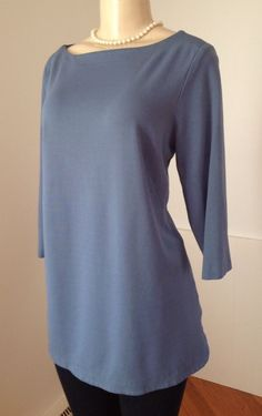 J Jill Blue Ponte Tunic Boatneck Sz. Large Petite 3/4 Sleeve Stretch Viscose EUC | eBay