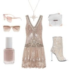 """Alexander Wang Marion plaster pebble white structured leather sling bag; Balmain lace shoes; """"roaring twenties"""" flapper dress; Essie nail polish in topless and barefoot; Givenchy modified square sunglasses in white and rose gold; Anita Ko rose gold diamond sunburst necklace"""