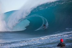 While it's been a long time since we've seen Laird Hamilton anywhere besides Sterling Spencer's blog , the man behind the Millennium Wave got reacquainted with massive Teahupoo during this swell. Photo: Pompermayer