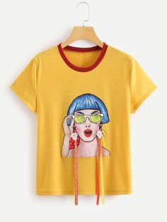 To find out about the Studs & Flower Applique Figure Print Tee at SHEIN IN, part of our latestT-Shirts ready to shop online today! Cool Shirts, Tee Shirts, Discount Womens Clothing, Painted Clothes, Western Dresses, Flower Applique, Curvy Outfits, Printed Tees, My T Shirt