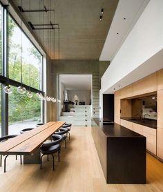 50 Best Modern Dining Room Design Ideas - Home Decorating Inspiration Minimalist Dining Room, Minimalist Home, Farmhouse Style Kitchen, Modern Farmhouse Kitchens, Home Interior Design, Interior Architecture, Room Interior, Interior Decorating, Modern Kitchen Design