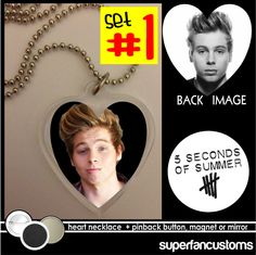 Luke Hemmings NECKLACE + BUTTON or MAGNET 5 Seconds of Summer 5sos five #1498 #necklace
