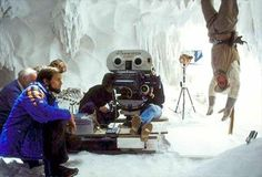 Gary Kurtz directing Mark Hamill (upside down) in Wampa cave