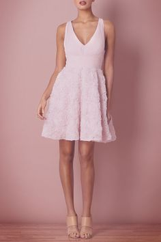 So smitten with the rosette details on this Aidan Mattox cocktail dress!