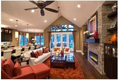 Jimmy Jacobs Custom Homes, Woodland Park Model Home, Georgetown, TX - contemporary - family room - austin - Mary DeWalt Design Group