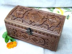 Jewelry box Wooden box Carved wood box Ring box by HappyFlying, $50.00