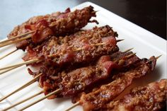 Maple-walnut bacon on a stick Enjoy them as an hors d'oeuvres, or as a brunch accompaniment – either way they're pretty heavenly.
