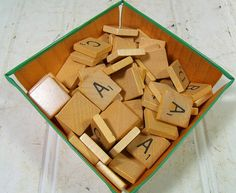 Vintage Scrabble Game A - D Letter Tiles - Wooden A B C D Pieces for Repurposing Upscaling Upcycling - Set of 51 Wooden Scrabble Tiles $7.00 by DivineOrders