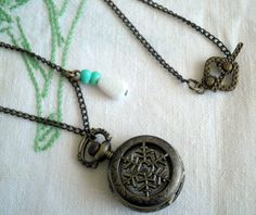 Snowflake Ball  Antiqued Bronze Pocket Watch Pendant by ihcharms