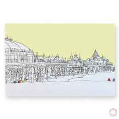 Eastbourne Pier Original Embroidered Textile Art by gillianbates Linda Miller, Raoul Dufy, Building Illustration, Textile Artists, Machine Embroidery, Textiles, Stitch, Lovely Things, Drawings