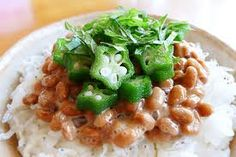 Natto, fermented soybeans. more info at http://www.meguminatto.com/simplerecipepage.html Healthy easy Vegan recipe