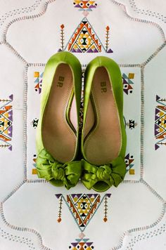 Green bride's shoes