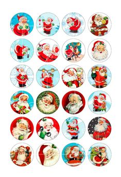 Santa Claus Printable round Images for Scrapbooking Bottle caps, Pendants Digital Collage Sheet Inst Christmas Gift Tags Printable, Christmas Clipart, Christmas Printables, Christmas Collage, Christmas Images, Christmas Cards, Vintage Christmas Crafts, Retro Christmas Decorations, Bottle Cap Crafts